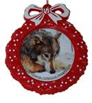 Wolf Red Wreath Ornament - Nita